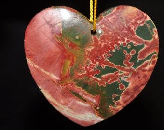 45x45x7mm Gorgeous-Red Cherry CREEK JASPER Large Heart Focal Pendant - K1005