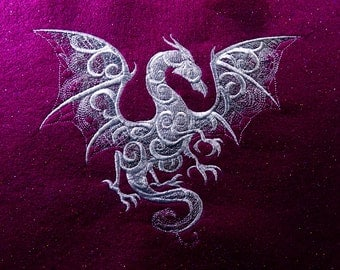 "8"" x 6.25″ Embroidered ""Smoky Dragon"" Tapestry (12″ x 9″ overall, fuchsia glitter felt, embroidered wall art)"