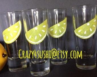 4 Whimsical Limoncello Glasses Lemoncello New Hand Painted
