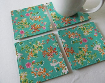 Set Of 4 Fabric Coasters/Flower On Green