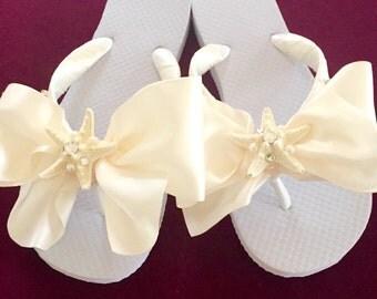 REAL STARFISH Bridal Flip Flops/Wedges.Wedding Flip Flops.Bridal Shoes.White Flip Flops.Beach Wedding Sandals.Ivory Bridal Shoes.