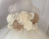 Ivory and Tan Beige Flower Girl Tutu Dress, Burlap Flowers, Chiffon and Lace, Satin Straps, Lace Straps,  Bridal, Country Wedding
