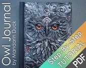 Polymer Clay Journal Tutorial - Owl with the golden eyes - feather silver effect