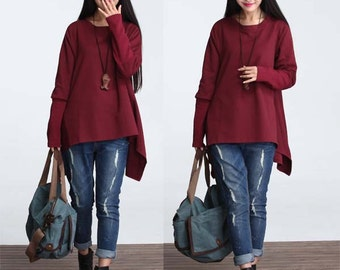 Asymmetrical casual loose cotton t-shirt knitted top without cap - Women Clothing (TTS-001)