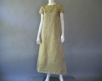 Vintage 60s Gold Brocade Dress - Long Evening Gown M