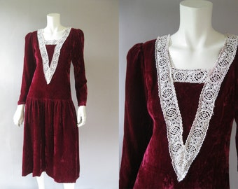 Vintage 80s Dress - Gunne Sax - Maroon Velvet Lace Party Dress - Prairie Dress