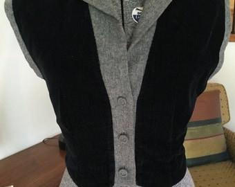 Vintage Grey Wool/Black Corduroy Fitted Vest