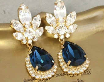 Blue Navy Chandelier Earrings,Bridal Navy Blue Earrings,Dangle Earrings,Midnight Blue Earrings,Swarovski Dangle Earrings,Blue Drop Earrings