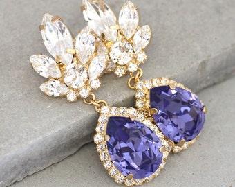 Purple Chandelier Earrings,Purple Amethyst Drop Earrings,Swarovski Dangle Earrings,Statement Crystal Earrings,Bridal Chandelier Earrings