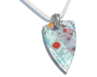 Fused Glass Jewelry, Fused Glass Pendant, Spring Pastels, Dichroic Glass, Fresh Airy - White Blue Pink Yellow Red Lilac  (Item #10723-P)
