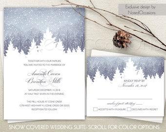 Winter Wedding Invitation Set Snowflakes Winter Wedding Mountain Cedar Pine Trees Printable Wedding Invite RSVP Digital Printable Template