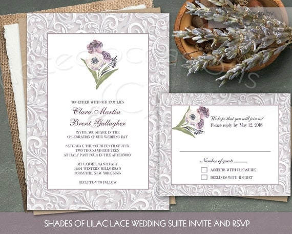 Watercolor Floral Wedding Invitations Rustic By NotedOccasions