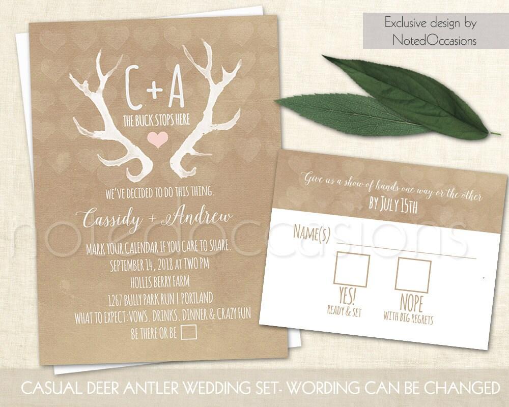 Deer Wedding Invitations: Rustic Wedding Invitation Set Deer Antlers Blush By