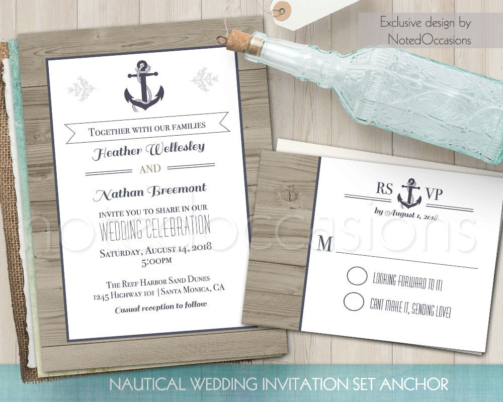 Sailboat Wedding Invitations: Nautical Wedding Invitation: Printable Wedding By