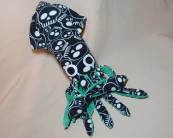 Scully the Black and White Skull Print Fleece Squid Plush Stuffed Ocean Marine Animal