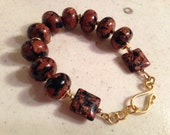 Navy Blue and Brown Bracelet - Gold Jewelry - Goldstone Gemstone Jewellery - Fashion - Beaded