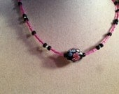 Hot Pink and Black Necklace - Glass Focal Bead Jewelry - Silver Jewellery - Beaded - White - Blue - Flower