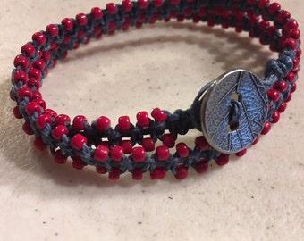 Navy Blue Wrap Bracelet - Macrame Jewelry - Red Seed Beads - Fashion - Trendy - Beaded - Silver Button - Denim