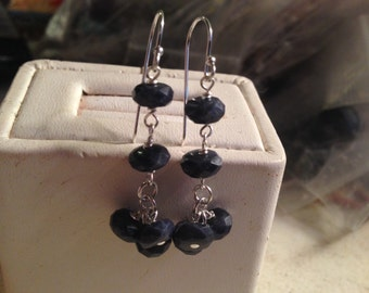 Sapphire Earrings - Navy Blue Jewelry - Sterling Silver - Gemstone Jewellery - Chic - Luxe - Fashion - September Birthstone