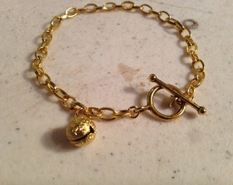 Gold Bracelet - Chain Jewelry - Bell Charm - Trendy - Fashion Jewellery - Charm Bracelet