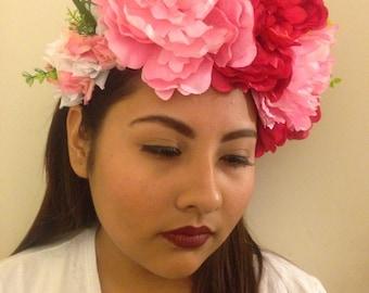 STATEMENT FLOWER HEADPIECE - Dark and Light Pink Flower Headpiece, Fairy Wedding, Flower Crown, Spring Weddings, Ready to Ship!