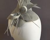 Gray fascinator, gray cocktail hat, felt gray headpiece