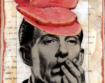 Original Collage on Wood - Vote Here - Pop Surrealism Surreal Politics Voting Democrat Republican Clinton Sanders Trump Meat Election Weird