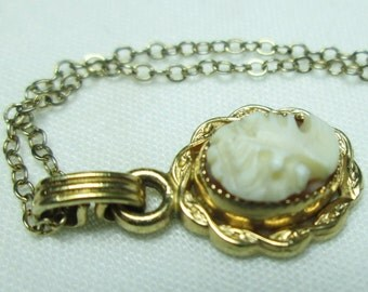 BEZEL set handcarved CAMEO gold filled pendant YELLOW gold filled hallmarked chain