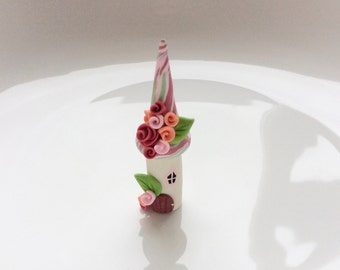 Miniature fairy house in pink and green handmade from polymer clay
