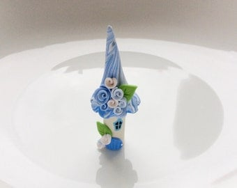 Cup cake topper miniature fairy house in blue and white colours handmade from polymer clay