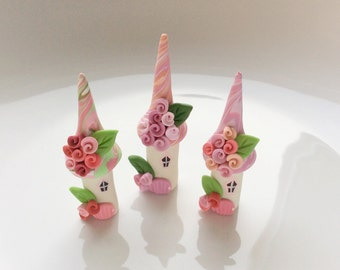 Miniature fairy houses, fairy house set, polymer clay houses, terrarium fairy set, miniature village