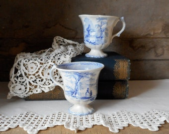 Two Antique Footed Teacups Blue Transferware Stoneware English Pottery