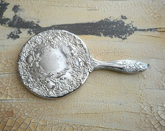 Vintage Silverplate Vanity Mirror for Child or Purse Shabby Cottage Collectible Home Decor