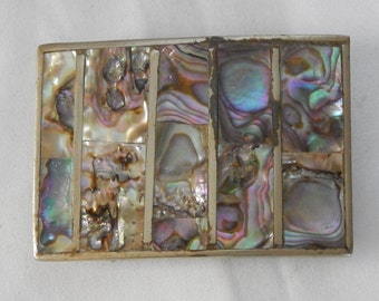 Beautiful Vintage Mexico Sterling Silver ~Abalone Shell Inlay ~Belt Buckle ~ Handmade Beauty