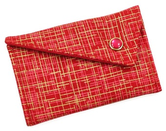 Business Card Holder Monogrammed Wallet Card Case- Red Gold Hatch (LIMITED EDITON) Card Case Wallet