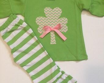 St. Patrick's Day Girls Stripe Ruffle Pants - Ruffle Pants Shirt Set - Clover Shamrock St. Patrick's Day Outfit