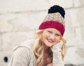 Chunky Knit Pom Pom Hat / Oversized Pom Beanie / Tiny Heart Pom Hat