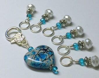 Splattered Heart Stitch Marker Holder Set-  Snag Free Progress Markers- Knitting Gift