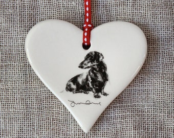 Dachshund dog gift, dachshund ornament, dachshund china heart, gift dachshund lover, dachshund keepsake