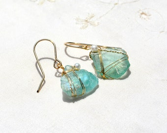 Chunky Roman Glass Earrings in Gold Filled with Pearls. Aquamarine Ancient Glass. Roman Glass Jewelry. Gold Filled Earring. Israeli Jewelry