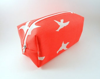 White and Coral Bird Makeup Bag, Gadget Case, Under 15, Pencil Case, Medium, Zippered, Cosmetic Case, For Her