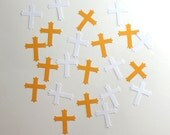 Gold and White Cross Embellishments Scrapbook Christian Craft Supplies 20 Pieces