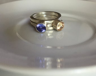 Flashing Champagne & Lavender Cubic Zirconia Sterling Silver Stacking Rings, Size 6.75
