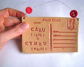 Caru Cymru - Love Wales - Ceramic postcard with vintage buttons. Made in Wales, UK.  Ready to Ship. Red
