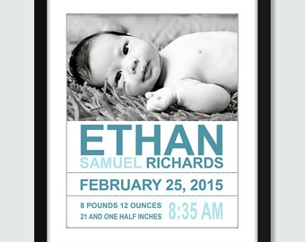 Photo Birth Announcement Wall Print. Custom Birth Announcement with Photo. 8x10, 5x7 Baby, Nursery Personalized Gift by mateoandtobias