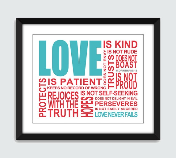 Love is. 1 Corinthians 13 Wall Art. Inpsirational Wall Print. 8x10 Custom Bible, Wedding, Anniversary Wall Print Poster