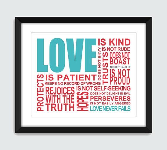 Love is. 1 Corinthians 13 Wall Art. Inpsirational Wall Print. 8x10 Custom Bible, Wedding, Anniversary Wall Print Poster