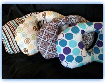 Travel Pillow - Car Seat Neck Support - Infant to Adult Sizes - Blues & Browns