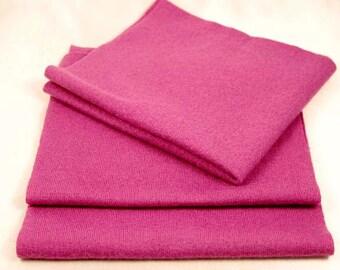 FELTED MERINO WOOL Hot Pink Reclaimed Woolen Fabric Scraps Sweater Pieces 1481