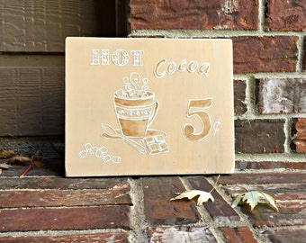 Hot Cocoa Carved Wood Sign - Reclaimed Wood